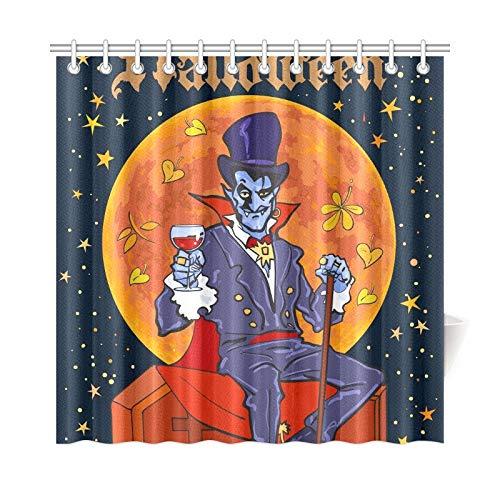 JOCHUAN Home Decor Bad Vorhang zählen Dracula sitzen auf Sarg auf Polyester-Gewebe-wasserdichter Duschvorhang für Badezimmer, 72 x 72 Zoll Duschvorhänge Haken enthalten (Dracula Sarg Kostüm)
