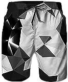 Rave on Friday Badehose für Männer, Schwarzes Dreieck Design Sommer Boardshorts Bequem Hawaiisch Bademode Hosen Mit Taschen L