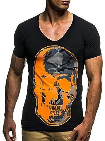 LEIF NELSON Herren oversize T-Shirt Shirt mit Totenkopf Aufdruck LN6291; Größe S, Schwarz-Orange