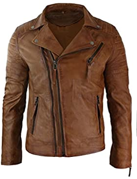 Para hombre Slim Fit Cruz Cremallera Retro Vintage Brando chaqueta de piel auténtica Vintage Biker