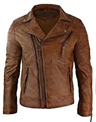 Mens Slim Fit Cross Zip Vintage Brando Washed Real Leather Jacket Black Brown Tan