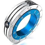 MunkiMix Acero Inoxidable Colgante Collar Azul Plata Zodíaco Pareja Anillo Ring Pulido Hombre ,Cadena 58cm