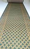 Shiraz Läufer nach Maß Grün Beige mit Muster Passende Stufenmatten Treppenmatten Breite 100 cm - 4 er Set halbrunde Form