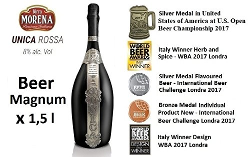 Birra Morena UNICA 8 % alc vol Magnum l 1,5 in wooden case Double Malt Red Aromatic fragrant with Chestnut Flour Artigianale Italian Craft Beer Award Best Gift Events Christmas Easter