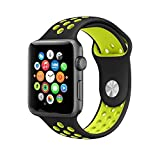 MMOBIEL Uhrenarmband 42 mm (Schwarz/Volt) Soft Silikon Sport Armband Band Ersatz für Alle Apple Watch Serien (Nike Edition)