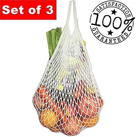 Ecohip réutilisable Sacs à provisions–Produire des Sacs–Sac de plage–Filet Sacs Lot de 3, Coton, blanc, Taille L