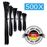 500 Stück Kabelbinder   Schwarz   UV Beständig   100 / 135 / 160 / 200 / 290 mm (je 100 Stück)