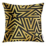 Cupsbags Throw Pillow Cover Black Abstract Modern Stars Gold and White Striped Pattern Linear Mosaic Metallic Flash Tattoo Item Maze Decorative Pillow Case Home Decor Square 18x18 Inches Pillowcase
