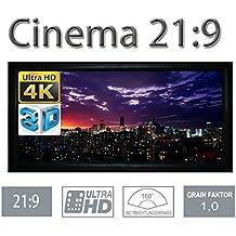 HiViLux - Pantalla de lona con marco (ganancia 1.0, tela blanca tipo cine / 3D / 4K / UHD, marco de aluminio, sin efecto brillo)