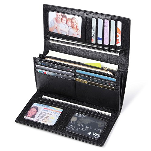 Leder Damen Clutch Portemonnaies (JEEBURYEE RFID Leder Geldbörse Damen Portemonnaie Clutch mit Knopf Lange Groß Damen Handtasche Geldbeutel für Frauen Schwarz)