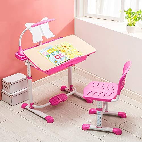 Zhuozi FUFU Tische Kindertischset Höhenverstellbare Workstation für Kinder, Arbeitszimmer für Kinder und Aktivitäts-Tisch mit verstellbarem Stuhl Robust Langlebig Drop-Blatt-Tabelle (Farbe : Pink) - Höhenverstellbar Aktivität Tabelle