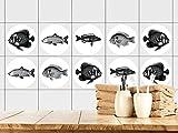 GRAZDesign 770441_57x57_FT Fliesenaufkleber Bad | Fliesensticker mit Fischen | einfach auf die Fliese kleben | Aufkleber-Set mit verschiedenen Motiven (57x57cm)