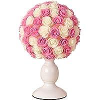 TIAN HENG XIN Tischlampe Schlafzimmer Nacht Wohnzimmer Lampe, Handgewebte  Rose Blume Geburtstagsgeschenk Licht, Dimmbare