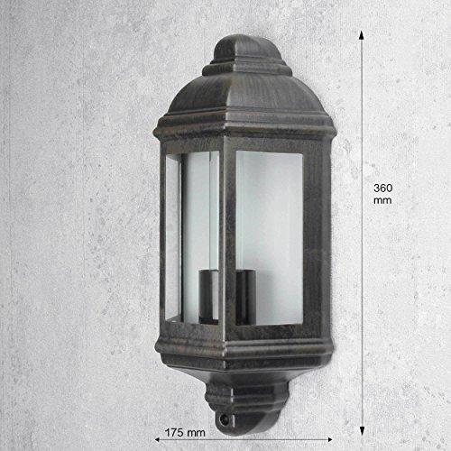 Maritime Wand Außenleuchte LIVORNO Schwarz Braun E27 IP44 Wandlampe für Außen Hauswand Balkon Tür