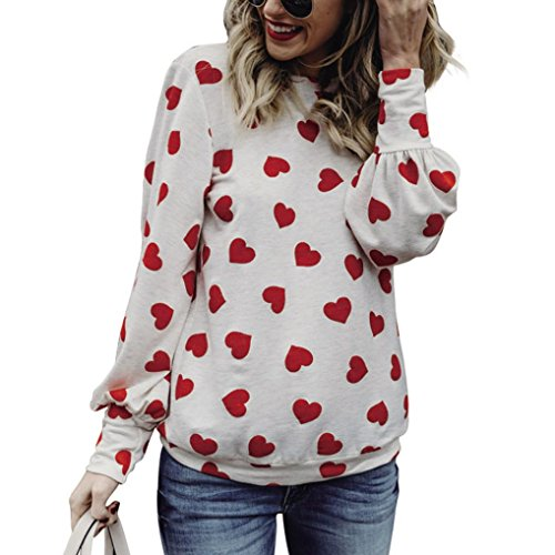 Wassermelone Bekleidung (Bekleidung FORH Damen Herbst Winter langarmshit Niedlich Love Heart Muster Gedruckte Bluse Bequem Warme Lange Ärmel Baumwolle Hemd Casual Loose T-Shirt Hemd Tops (L, Wassermelonen Rot))