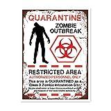HALEY GAINES Quarantine Zombie Outbreak Targa in Metallo Decorazione Parete Cartello Vintage Appendere Poster retrò Muro Placca per Bar Cucine Bagni Garage Hotel Giardino 20×30cm