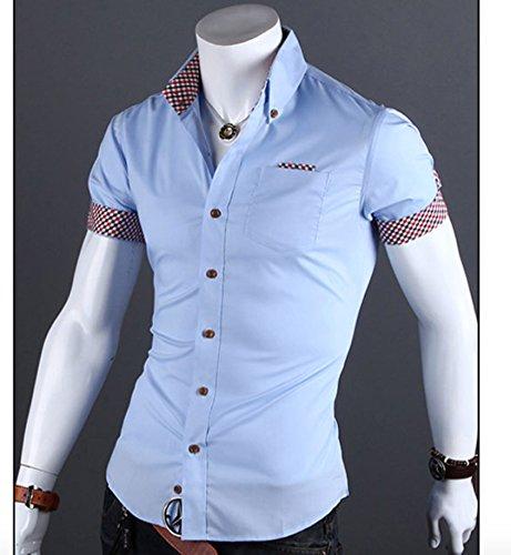 Herren Baumwolle Schick Sommer Kurzarm Freizeit Hemden Kontrastfarbe Slim Fit Blau