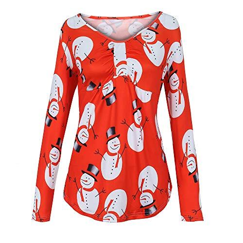 (MIRRAY Damen Übergröße O-Ausschnitt Weihnachten Schneemann Geraffte Plus Size T-Shirt Tops Bluse)