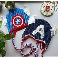 Gorro Capitán America 2 PERSONALIZABLE (Bebé, crochet, ganchillo, muñeco, peluche,