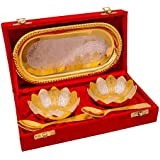 Anand Crafts Gold & Silver Plated Floral Bowls And Spoon With Octagan Tray Gift Set