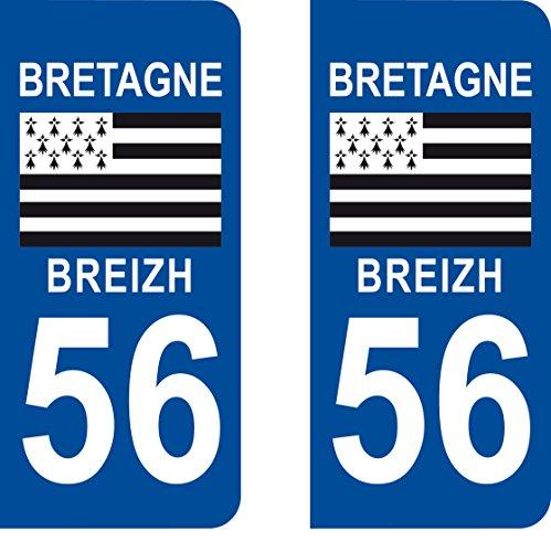 SAFIRMES 2 Stickers Autocollant Style Plaque Immatriculation département 56