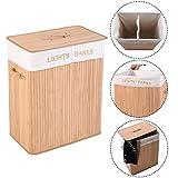 COSTWAY Wäschebox Wäschekorb Wäschetruhe Wäschesammler Wäschetonne Bambus mit Wäschesack 105L