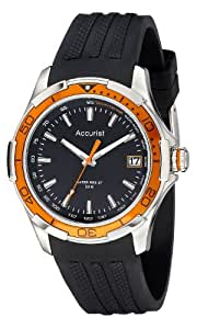 Accurist Men's Quartz Watch with Black Dial Analogue Display and Black Silicone Strap MS860OB