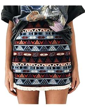 Casual A-LíNea Falda Mujer LHWY, Falda Costura De Flecos Retro Falda De Cintura Alta Con Estampado Verano