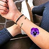 Flor violeta etiqueta engomada falso temporal del tatuaje (Juego de 2) - TOODTATTOO.COM