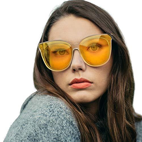 Damen Nachtfahrbrille Retro Katzen Augen Gläser Nachtsichtbrille Autofahren Anti Glanz Polarisiert KontrastBrille (Transparent/Gelb)