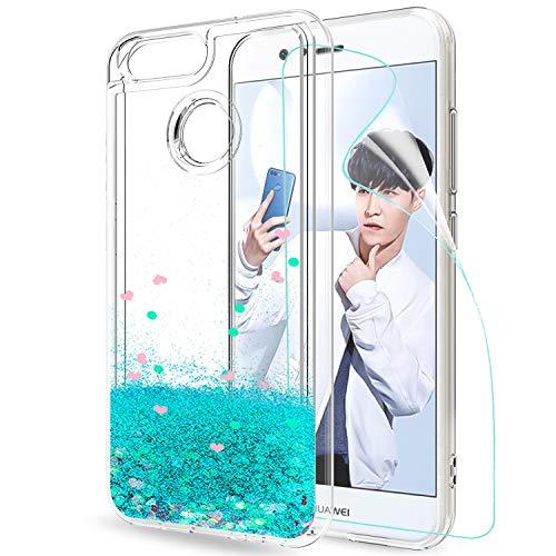 LeYi Hülle Huawei Nova 2 Glitzer Handyhülle mit HD Folie Schutzfolie,Cover TPU Bumper Silikon Flüssigkeit Treibsand Clear Schutzhülle für Case Huawei Nova 2 Handy Hüllen ZX Turquoise