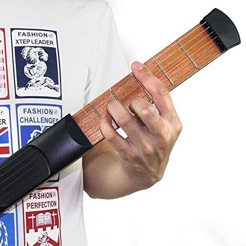 Yafine 6 cuerda 6 Fret portátil de madera de bolsillo guitarra portátil de bolsillo de guitarra acústica práctica herramienta Gadget Chord entrenador para principiantes