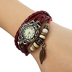 Women's Analog Quartz Watch with Mehrreihigem Leather Wrap Bracelet, Beads and Leaf Design Red