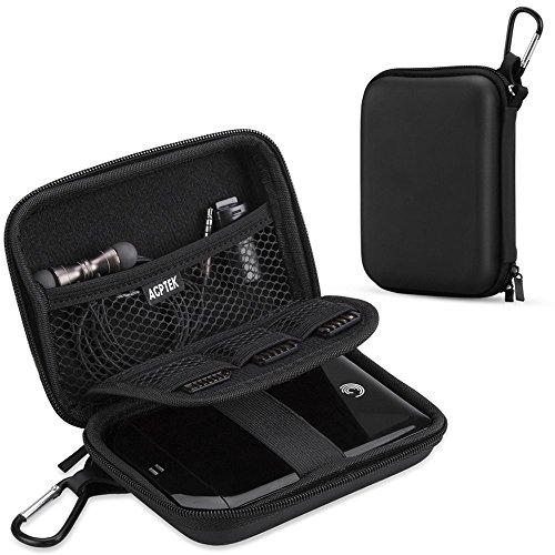 AGPTEK EVA Stoßsichere Schutzhülle/Tasche/Festplattentasche für 2,5-Zoll-Festplatte, Power Bank, Schwarz