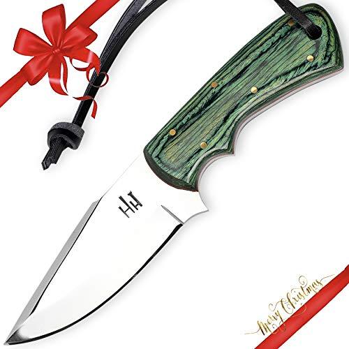 Hobby Hut HH-405, 01 Kohlenstoffstahl, jagdmesser mit lederscheide,Grün Micarta Griff
