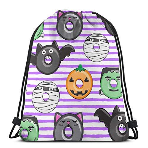 Halloween Donut Medley Purple Stripes Pumpkin Fran 3D Print Drawstring Backpack Rucksack Shoulder Bags Gym Bag 17 X 14 Inch