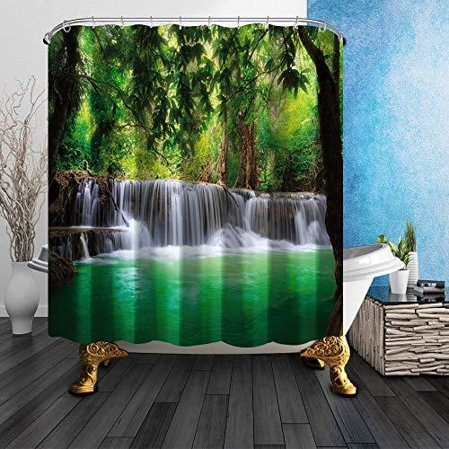 GoHEBE grün Woods und Pool 180x180cm Schimmelresistent Polyester Stoff Vorhang für die Dusche -