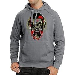 """Sudadera con capucha """"Un cráneo de moda con casco de motocicleta"""" (XX-Large Grafito Multicolor)"""
