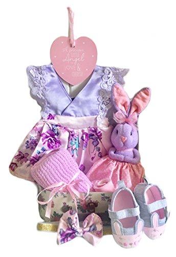 Felicity il coniglietto floreale viola e rosa neonato Baby Girl Gift set neonato cesto regalo New Baby Girl valigia Hamper