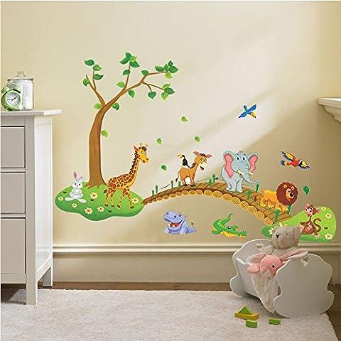 Zooarts croce, motivo: animali della giungla, motivo: ponte Adesivo da parete in vinile removibile