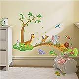 Zooarts - Autocollant mural amovible en vinyle - Motifs animaux de la jungle sur un pont