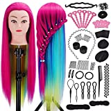 Tête à coiffer, Mysweety tête a coiffer professionnelle 71cm 100% Cheveux Fibre Synthétique pour Salon de Coiffer Enfant, Violet Coloré Tête Mannequin avec Table Support & Accessoires, 23