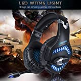 Qingta Gaming Headset K1, 3.5mm Stereo Sound Comfortable Headphones with LED Light Noise Cancelling Headset with Mic for PS4 Xbox One Laptop PC Mac Computer Smartphone (Blue)