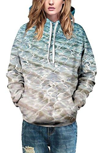 SMITHROAD Damen Unisex Kapuzenpullover Sweatshirt mit Kapuze und Kordelzug 3D Aufdruck Print Hipster S-XL Hoodie See
