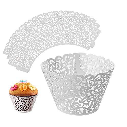 LEADSTAR envoltorios para Cupcakes (50Piezas Encaje Corte Maletero Magdalenas titulares de Papel para Boda Fiesta de cumpleaños Decoración