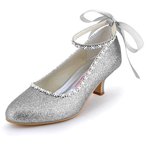 Elegantpark EP31010 Femmes PU Bout Rond Scintillant Bride Cheville Ruban Chaine Soiree Chaussures de Mariee