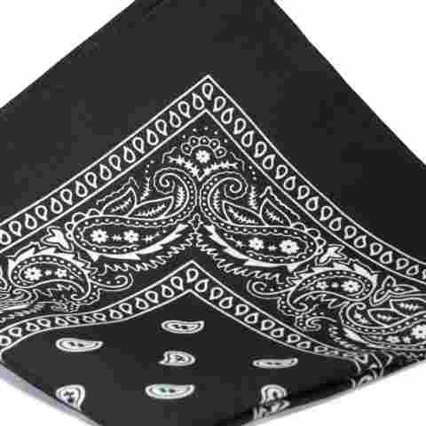BLACK Bandana with WHITE square Paisley pattern ON BOTH SIDES