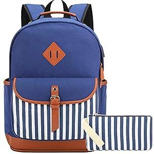Mochila Lona Mujer Casual Set de Mochilas Escolares Juveniles para Chicas Adolescentes Niña con Puerto USB y para Auriculares (Azul-2C, 15.6Inch)