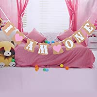 Gemini_mall® Baby Shower Bunting Banners with 3 M Rope, Baby Shower Party Decoration (I AM ONE (Pink Heart))