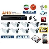 KIT VIDEOSORVEGLIANZA AHD IP CLOUD DVR AHD 8 CANALI -8 TELECAMERE 48 LED 2 MPX - 8 ALIMENTATORI PER TELECAMERE - HARD DISK 500 GB